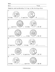 Missing Values of Coins 2 Worksheet