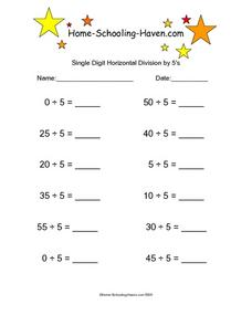 Single Digit Horizontal Division by 5's Worksheet