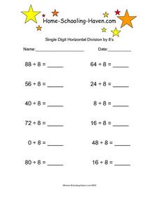 Single Digit Horizontal Division by 8's Worksheet