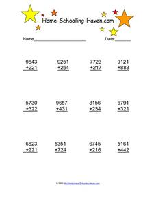 Addition Practice: 4 and 3 Digit, #2 Worksheet
