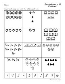 Counting Groups to 10 Worksheet
