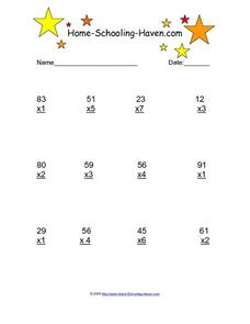 Multiplication - Two Digits by One Digit Worksheet