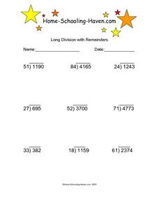 Long Division with Remainders 9 Worksheet