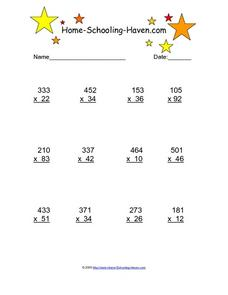 Multiplication 3 Worksheet