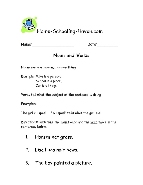 Nouns and Verbs 2 Worksheet