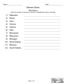 Midwest States: Alphabetize Worksheet