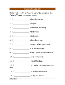 Future Tense (3) Worksheet