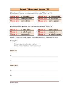 Count/Noncount Words - Using There Are and There Is Worksheet