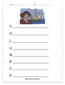 Columbus Acrostic Poem Worksheet