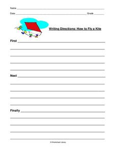 Writing Directions: How to Fly a Kite Worksheet