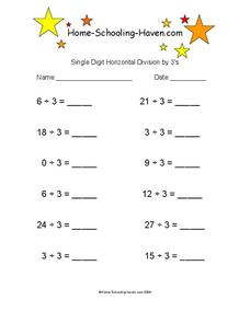 Single Digit Horizontal Division by 3's Worksheet