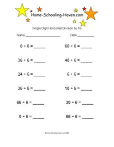 Single Digit Horizontal Division by 6's Worksheet