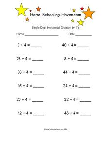 Single Digit Horizontal Division by 4's Worksheet