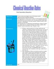 Chemical Reaction Rates Lesson Plan
