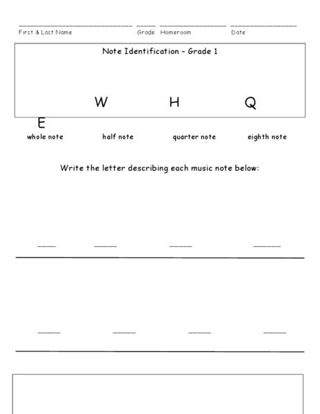 Note Identification Grade 1 Worksheet For 1st 2nd
