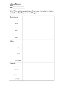 Religious Education Worksheet