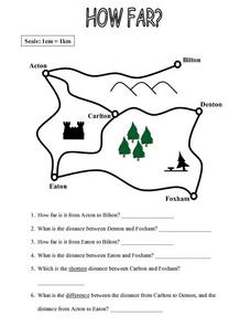 map work how far worksheet for 4th 5th grade lesson planet. Black Bedroom Furniture Sets. Home Design Ideas