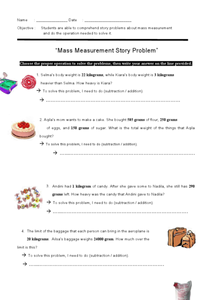 Mass Measurement Story Problems Worksheet