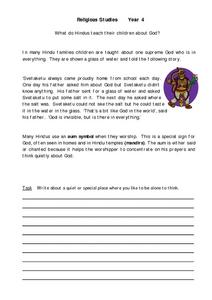Religious Studies Year 4 Hindus Worksheet