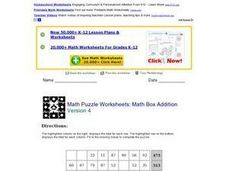 Math Puzzle Worksheet: Box Addition Version 4 Lesson Plan