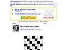 Math Cross Number Version 3 Lesson Plan