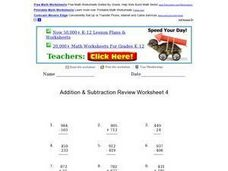 Addition & Subtraction Review Worksheet 4 Worksheet