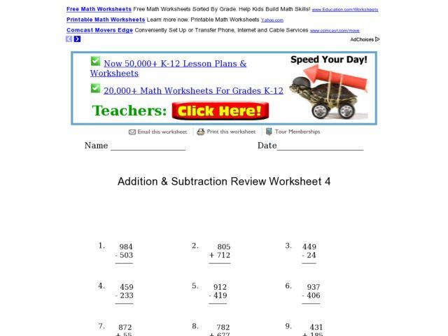 addition subtraction review worksheet 4 worksheet for. Black Bedroom Furniture Sets. Home Design Ideas