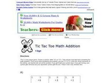 Tic Tac Toe Math Addition 2 Worksheet