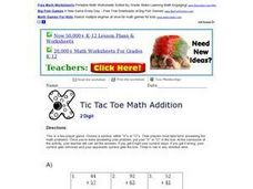 Tic Tac Toe Math Addition 3 Worksheet