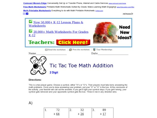 Tic Tac Toe Math Addition 5 Worksheet