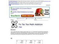 Tic Tac Toe Math Addition 6 Worksheet