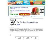 Tic Tac Toe Math Addition 8 Worksheet