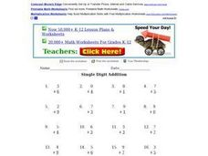 Single Digit Addition 0 to 9 Worksheet