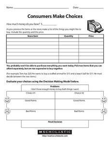 Consumers Make Choices Worksheet