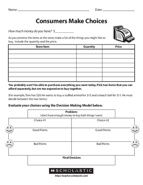 Consumers Make Choices Worksheet For 1st 4th Grade