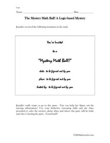 The Mystery Math Ball: A Logic Based Mystery Worksheet