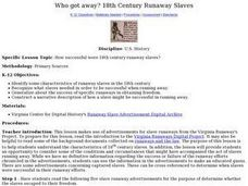 Who Got Away? 18th Century Runaway Slaves Lesson Plan