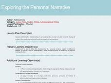 Exploring the Personal Narrative Lesson Plan