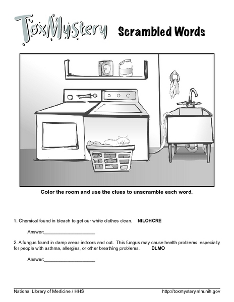 tox mystery science word scramble worksheet for 3rd 5th grade lesson planet. Black Bedroom Furniture Sets. Home Design Ideas