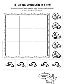Tic-Tac-Toe, Green Eggs in a Row! Worksheet