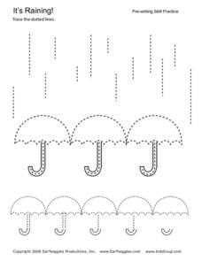 It's Raining: Pre-writing Skill Practice Worksheet