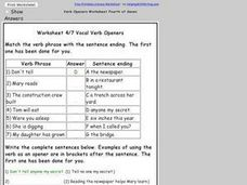 Worksheet 4/7 on Verb Openers Worksheet