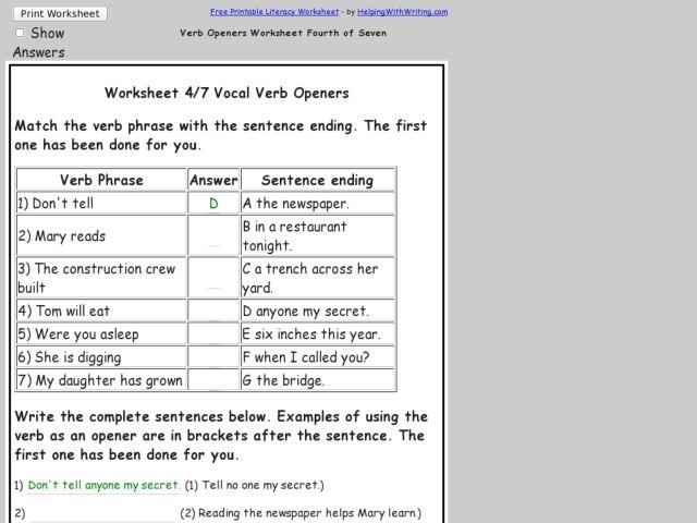 Worksheet 47 on Verb Openers 3rd 4th Grade Worksheet – Verb Phrase Worksheet
