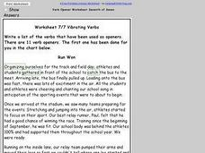 Worksheet 7/7 on Verbs Worksheet