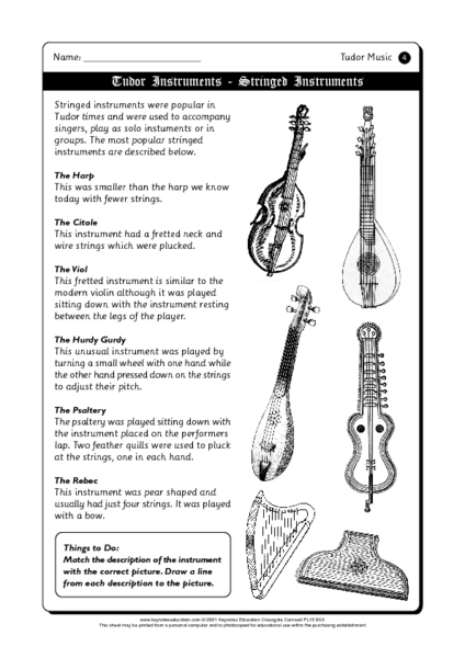 Tudor Music Worksheet for 4th - 5th Grade | Lesson Planet