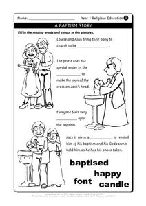 A Baptism Story Worksheet