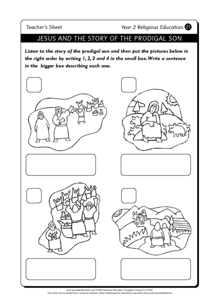 Jesus and the Story of the Prodigal Son Worksheet for 1st