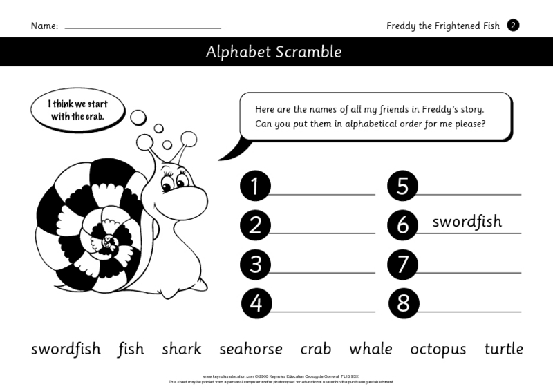 Activities for Freddy the Frightened Fish Worksheet