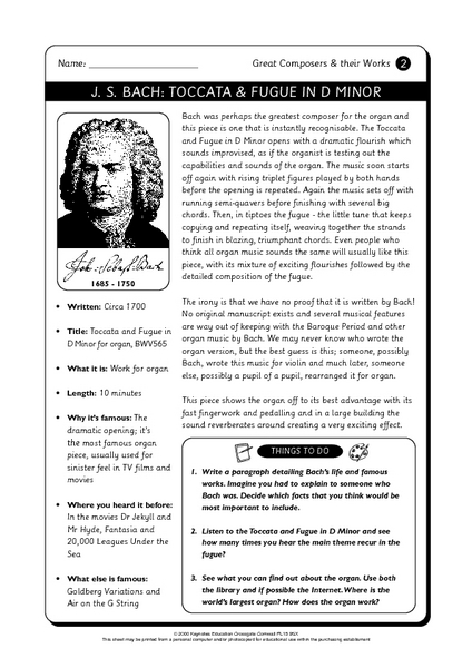 Great Composers and Their Works 4th - 5th Grade Worksheet | Lesson ...