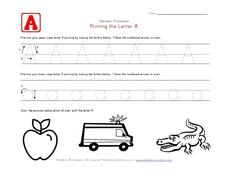 Printing the Letter Aa Worksheet